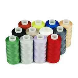 Simthread 12 Multi Colors 100% Cotton Sewing Thread Set 50s/