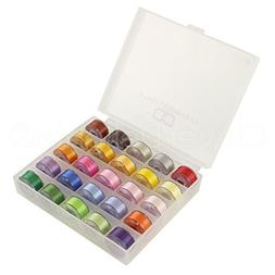 25 Pack - CleverDelights Colored Prewound Bobbins Set with C