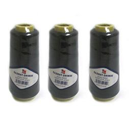 3 Black Sewing Machine Thread Spool 3000 Yards Polyester Uph