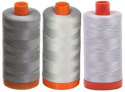3-PACK - Aurifil 50WT - Aluminum + Dove + Grey, Solid - Mako