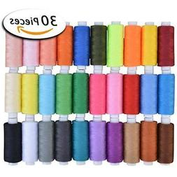 Paxcoo 30 Assorted Color Polyester Sewing Thread Spools 250