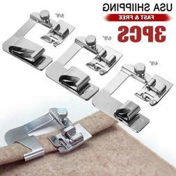 3Pcs Domestic Sewing Machine Foot Presser Rolled Hem Feet Fo