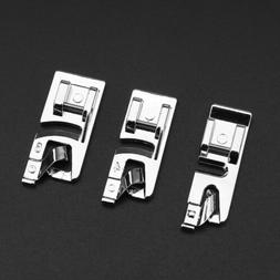 3Pcs Silver Hard Rolled Hem Foot For Brother Janome Singer B