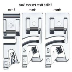 3x Domestic Sewing Machine Foot Presser Rolled Hem Feet For