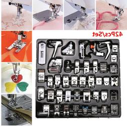 42 PCS Domestic Sewing Machine Foot Presser Feet Snap On For