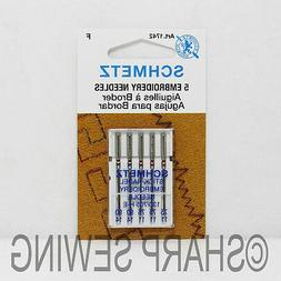 5PK SCHMETZ EMBROIDERY SEWING MACHINE NEEDLES