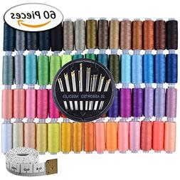 Paxcoo 60 Assorted Color Polyester Sewing Thread Spools 250