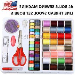 64 Rolls Sewing Machine Line thread Spool Set Bobbin Cotton
