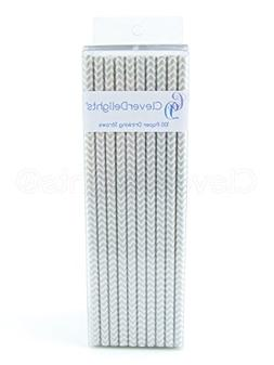 CleverDelights Biodegradable Paper Straws, Silver Chevron, B
