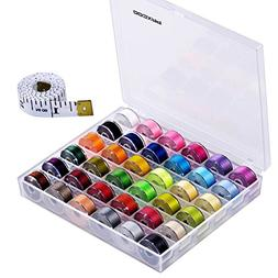 Paxcoo 36 Pcs Bobbins and Sewing Threads with Case and Soft