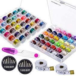 Paxcoo 72 Pcs Bobbins and Sewing Threads with 60 Pcs Sewing
