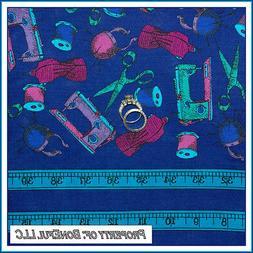 BonEful Fabric BTHY Cotton Quilt VTG Blue Sewing Machine Sci