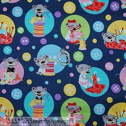BonEful Fabric FQ Cotton Quilt Gray Pink Blue Bear Thread VT