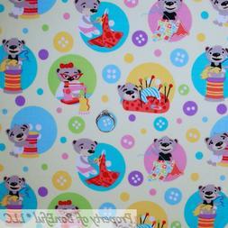 BonEful FABRIC FQ Cotton Quilt Yellow Rainbow Sewing Machine