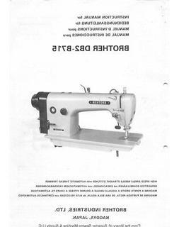 Brother DB2-B715 Sewing Machine Owners Instruction Manual Re