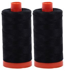 AURIFIL Cotton Mako 50Wt Thread 2 Large Spools: Black