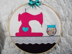 * Cute Sewing Machine - Button Jar -  Hoop Art *Hand Crafted