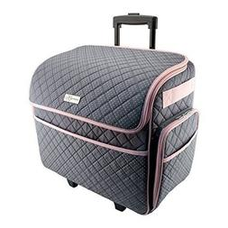 deluxe rolling tote, gray with pink trim