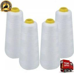 IZO Home Goods 4-Pack of 6000 Yards EACH White Serger Cone T