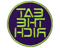 Eat The Rich Iron On Patch Applique - Royal Purple, Acid Gre