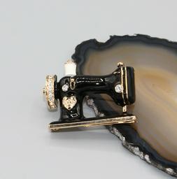 Gold & black brooch pin sewing machine arts & crafts large