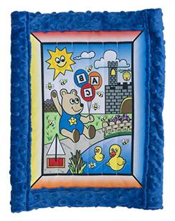 All Inclusive Baby Quilt Kit, Boy Bear w/ blue super soft Cu
