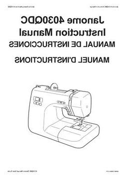 Janome 4030QDC Sewing Machine Instruction Manual