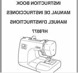 Janome HF 8077 Sewing Machine Instruction Manual Users Guide