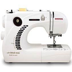 Janome Jem Gold Plus Portable Sewing Machine with Light Serg