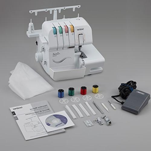 Brother Serger, 1034DX, 3/4 Thread with Feed, Thread Capability, 1,300 Stitches Per Minute, Color-Coded Threading Guides