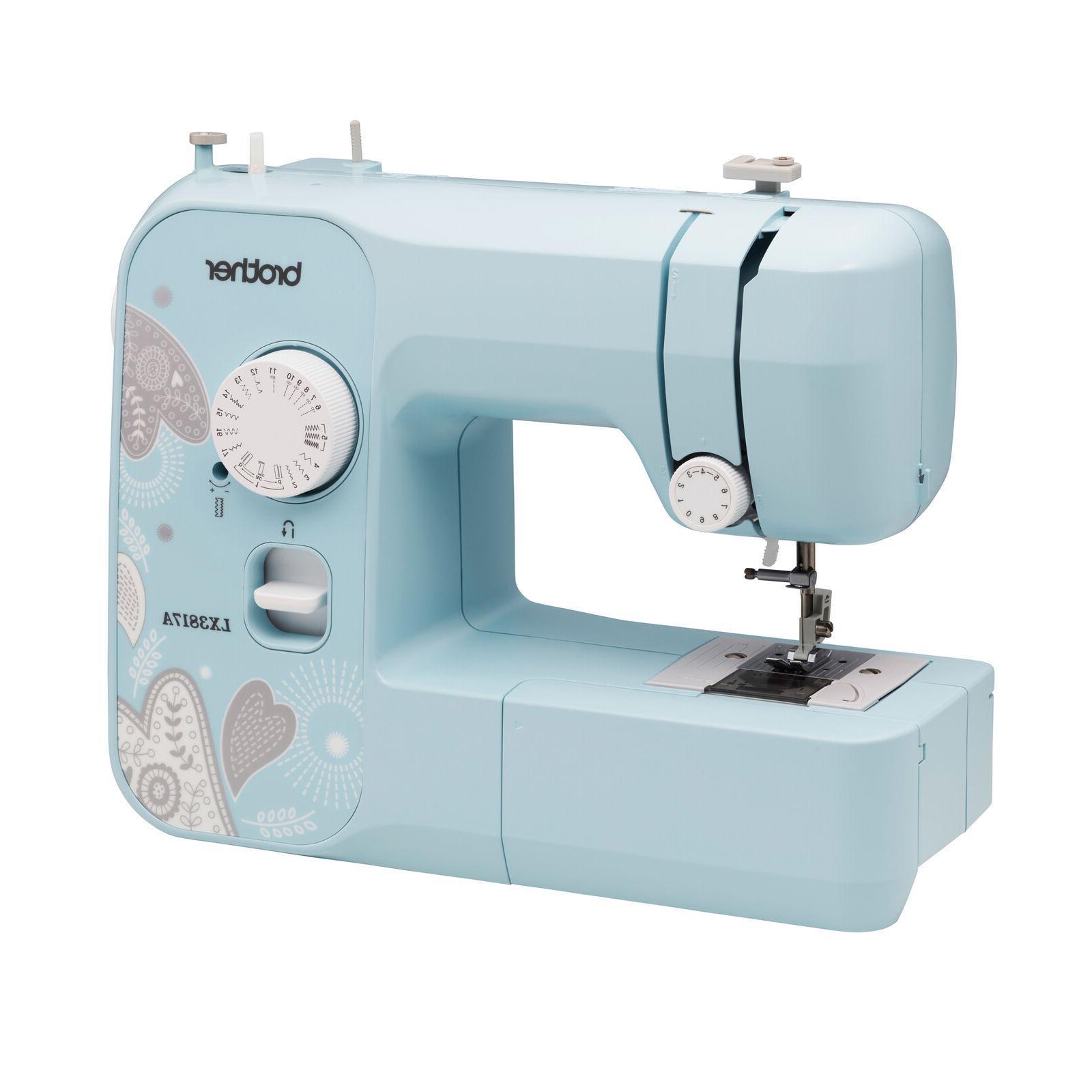 Full-Size Aqua Sewing Machine 17 Built-in Sewing Stitches wi