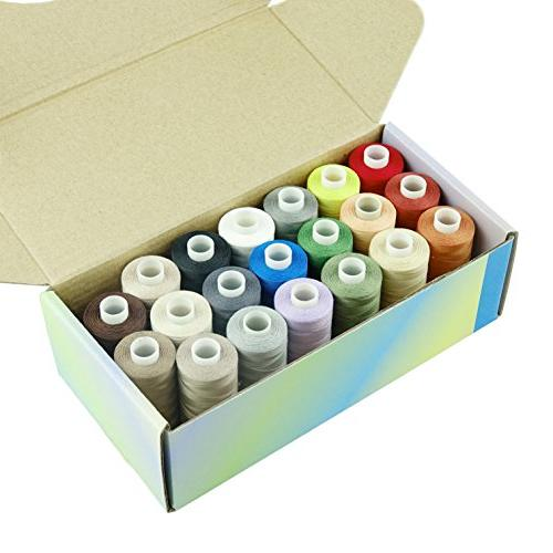 Simthread 20 Multi Colors 100% Cotton Sewing Thread 50s/3 for Quilting - 550