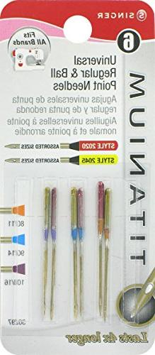 SINGER 30297 6 Regular Ball Point Titanium Machine Needles