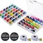 Paxcoo 72 Pcs Bobbins and Sewing Thread with Case for Brothe