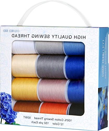 Colored 1800Yds 50wt Mixed Cotton Sewing Spools,150Yds Each -for Single Needle,Machine