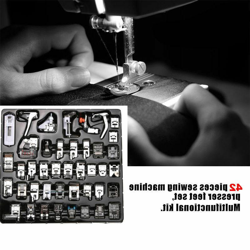 42PCS Sewing Machine Presser Foot Feet For Brother Singer Do