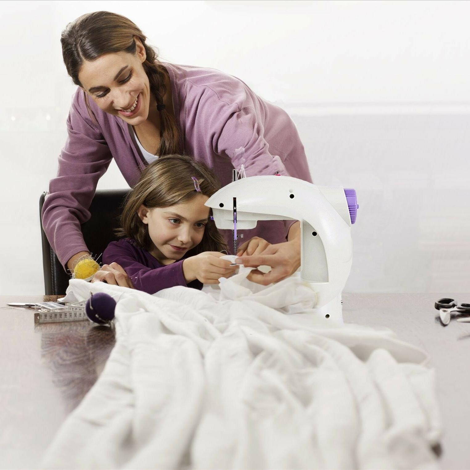 Portable Beginners Kids Adult Sewing Machine Mending With Table