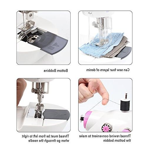 NEX Sewing Craft Gift Portable Mini Sew Machine with Double Pedal