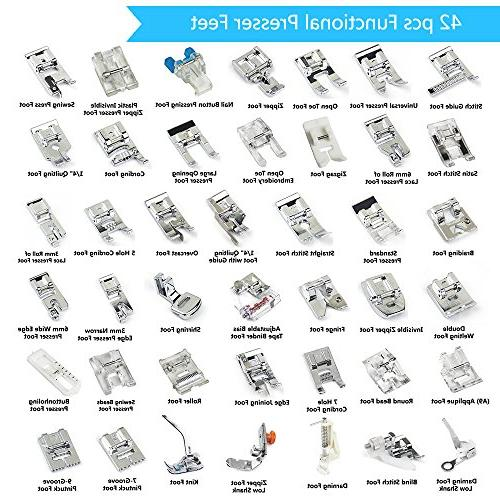 43 pcs Set with Adapter SIMPZIA Sewing Foot Kit Brother, Singer, Elna, Toyota, Home, Simplicity, Necchi, White