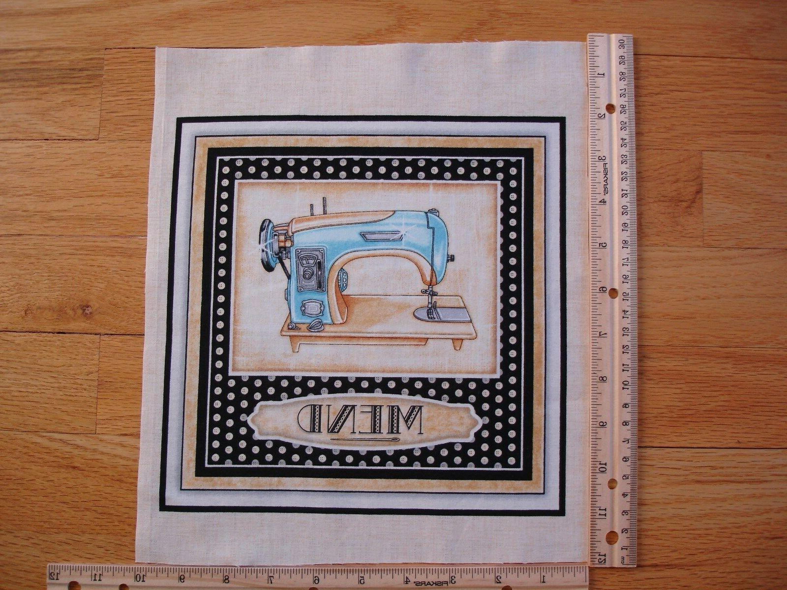 "Retro Blue Sewing Machine "" Mend "" Beige Cotton Quilt Fabric"