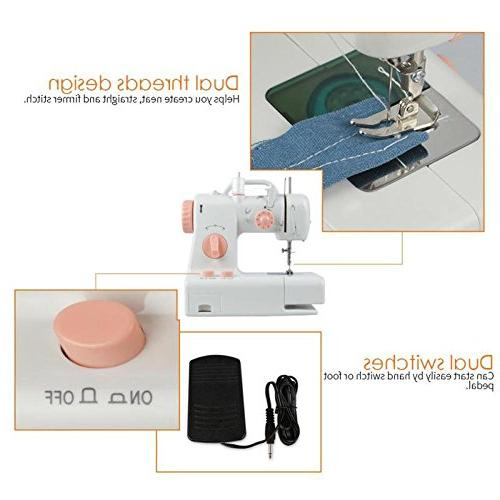 TTnight Sewing Machine Dual Double Thread Electric Sewing