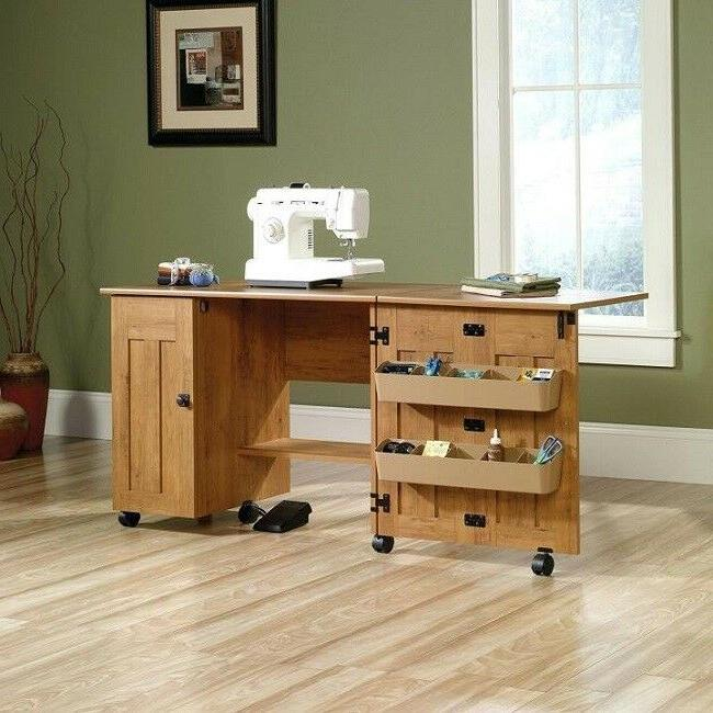 Sewing Machine Cabinet Amber Pine Drop Leaf Craft Table Cart