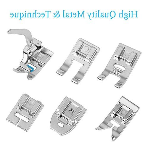 Eurlove Presser Feet Kit pcs Brother, Singer, Elna, New Home, Simplicity, Kenmore, White Shank Machines