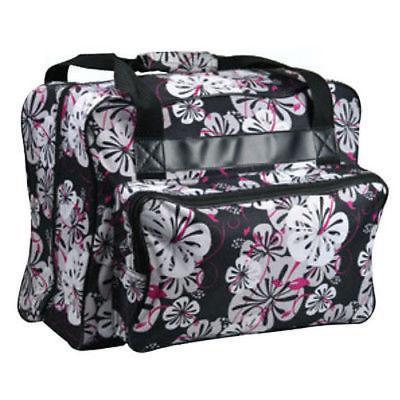 sewing machine tote bag in black floral