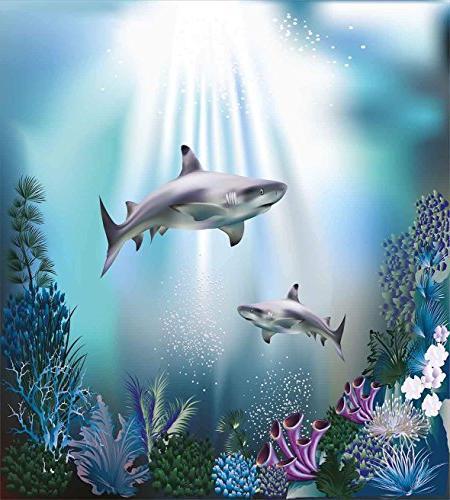 Underwater 4 Duvet Zipper Luxury Microfiber, Realistic Sharks Seaweed Aquatic