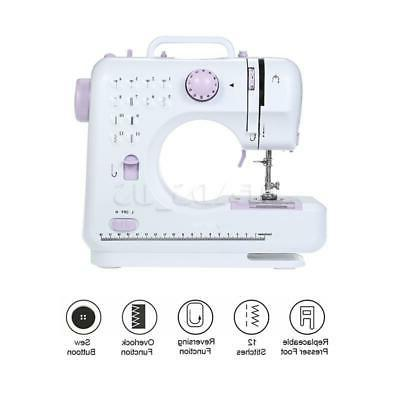 USA Portable Electric Sewing Machine Double Speed 12 Stitches Tailor