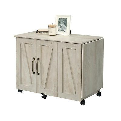 Wood Sewing Machine Storage Cabinet With Doors Save Space Cr