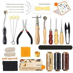 Leather Sewing Tools SIMPZIA 24 Pieces Leather Tools Craft D