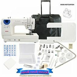 Janome Memory Craft 6300P Sewing Machine Bundle with Rolling