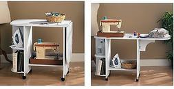 NEW White Rolling Sewing Machine Craft Table Folding Desk St